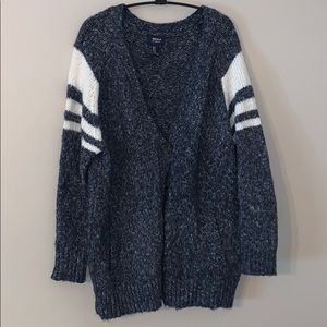 varsity style chunky button up sweater